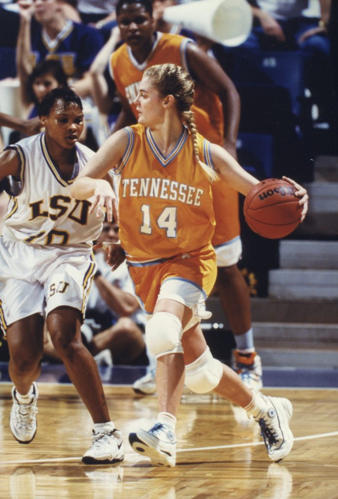 Kellie Jolly Harper playing basketball for UT